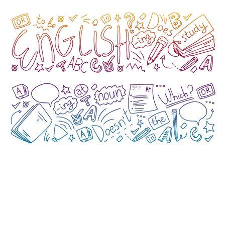 Corsi di inglese. Scarabocchiare l'illustrazione del concetto di vettore dell'apprendimento della lingua inglese