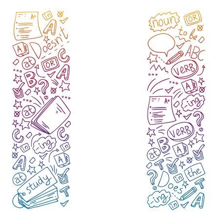 Kursy angielskiego. Doodle ilustracja koncepcja wektorowa nauki języka angielskiego