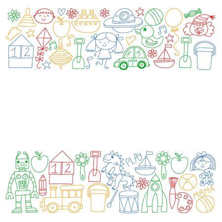 Kindergarten preschool school children. Kids drawing style vector pattern. Play grow learn together.