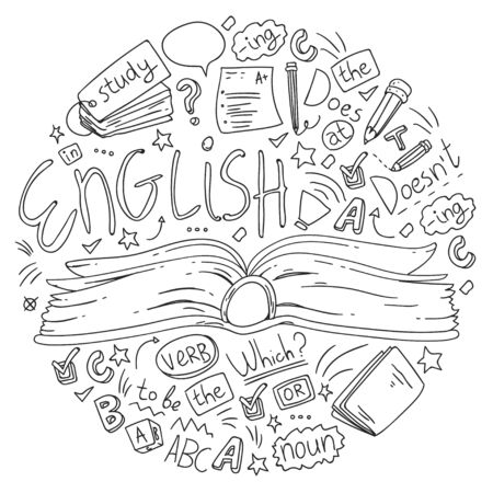 Language school for adult and kids. Pattern with icons about english learning. Vettoriali
