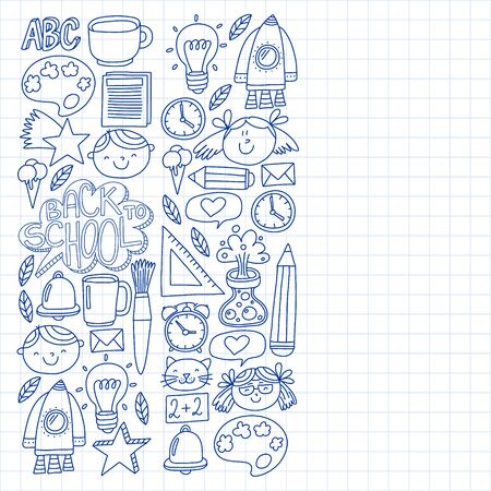 Vector pattern with back to school icons for posters, banners, covers.