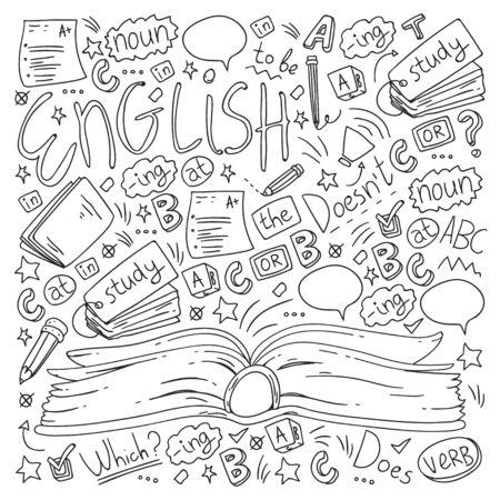 Scuola di lingue per adulti e bambini. Modello con icone sull'apprendimento dell'inglese.