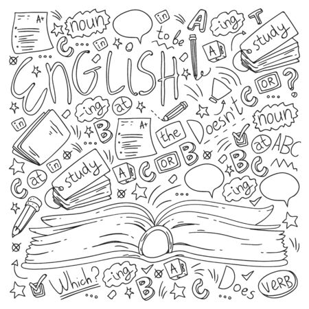 Language school for adult and kids. Pattern with icons about english learning. Illustration
