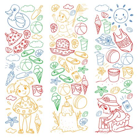 Vector pattern with little chilren. Family summer vacations. Beach, ocean, island, sun. Kids play. Swimming and relaxation.