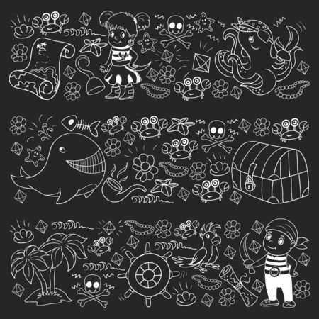 Vector set with pirate elements for birthday Ilustração