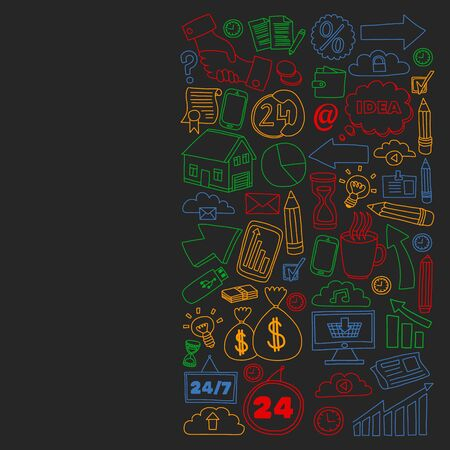 Conceptual illustration of projects organization, risk, development. Team working, budget planning. Ilustração