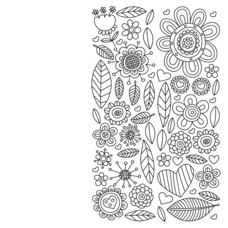 Doodle flowers and leaves. Vector pattern.