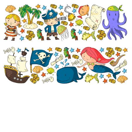 Kids birthday, octopus pirates. Pirate party. Illustrations for little children.
