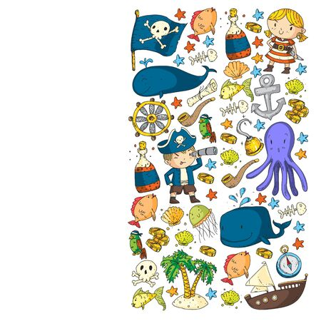 Kids birthday, octopus pirates. Pirate party. Illustrations for little children. 写真素材 - 131964440