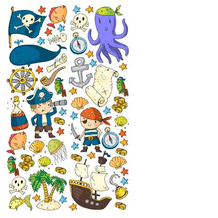 Kids birthday, octopus pirates. Pirate party. Illustrations for little children. 写真素材 - 131968753