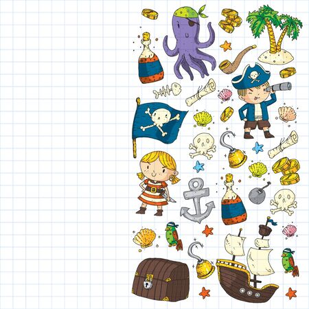 Pirate party. Illustrations for little children. Kids birthday, octopus pirates Stock Illustratie