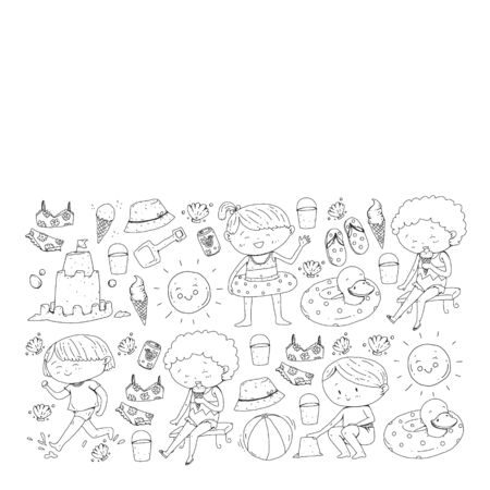 Children summer vacation. Holidays with little kids. Sea, beach and ocean. Travel and adventure vector pattern.