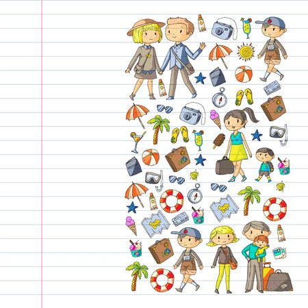 Vector pattern with travel and beach icons. Parents with little kids. Children summer vacation. Иллюстрация
