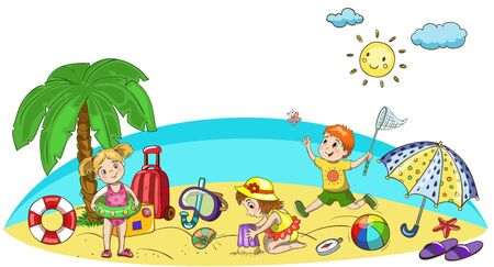 Kids playing at the beach. Little boys and girls having fun at sea and ocean shore. Children summer vacation with vector mask, ball, sun, umbrella, hat, sand castle Illustration