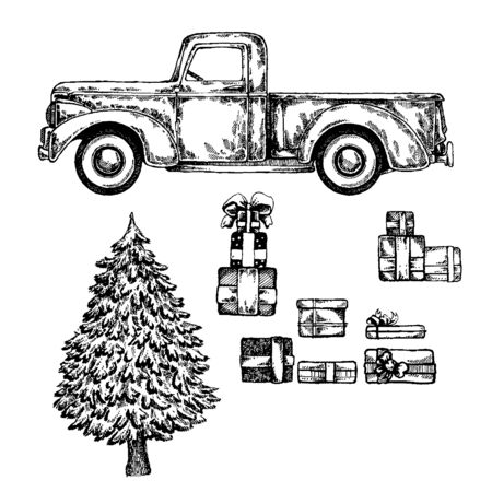 Christmas truck with christmas tree and gifts, presents. Happy new year Stock Vector - 133185068