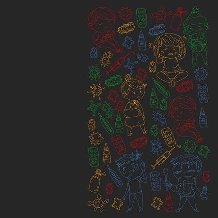 Vector pattern with little children. Illustration of Child diseases, flu, illness. Ilustração