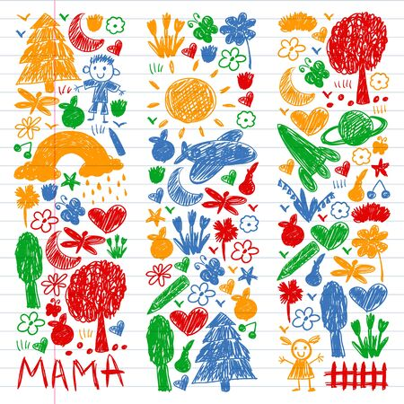 Kindergarten pattern with funny kids drawing. Vector illustration. Stockfoto - 133594719