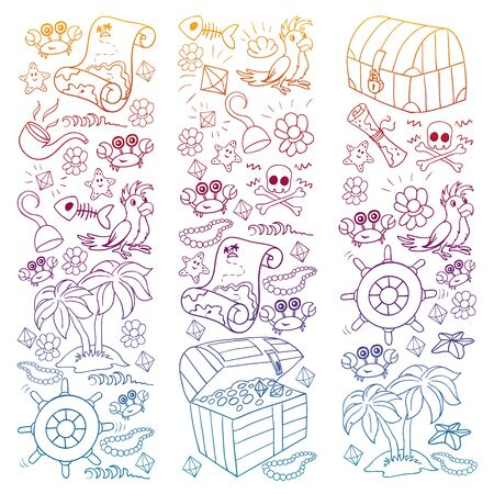 Vector set with pirate elements for birthday Ilustracja