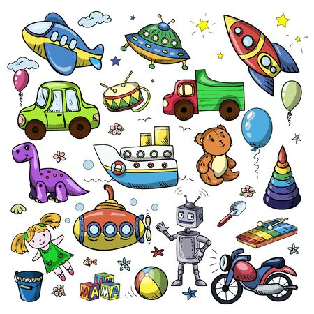 Vector set with children toys. Icons for education, kindergarten, nursery