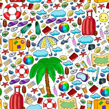 Vector pattern. Summer vacations. Travel and adventures. Beach, ocean, island, sun