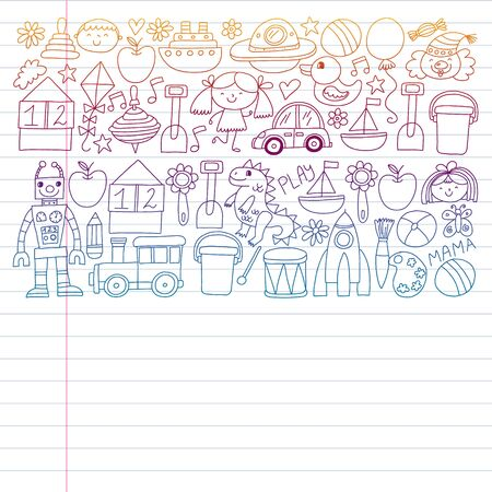 Robot, ufo, alien, car, airplane. Kindergarten preschool school children. Vector pattern Doodle kids drawing style