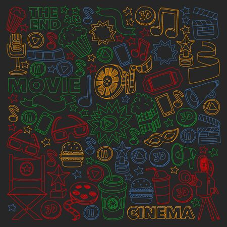Pattern doodle background with vector icons. Movie, cinema set.