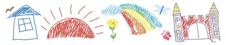 Multicolored symbols set for kindergarten, school. Children pattern. Kids drawing flowers, sun.