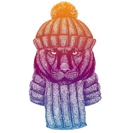 Ski, skier animal wearing woolen knitted hat. Christmas time. Cartoon character for little children. Kids print for shirts. Nursery decor. Illustration