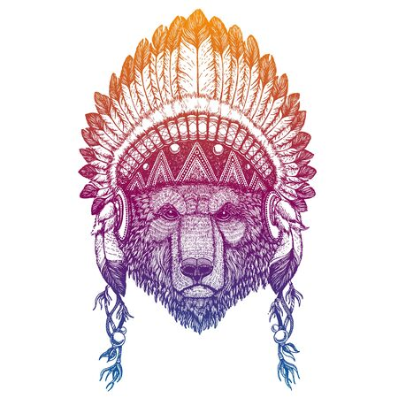 Bear. Woodland. Forest. Nursery poster. Portrait of vector animal. Traditional indian headdress with feathers. Tribal style illustration for little children clothes. Image for kids tee fashion, posters. Illustration