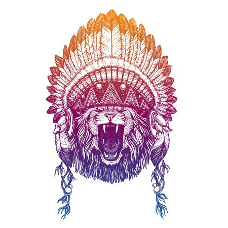 Lion. Safari. Nursery poster. Portrait of vector animal. Traditional indian headdress with feathers. Tribal style illustration for little children clothes. Image for kids tee fashion, posters. Banque d'images - 138093418