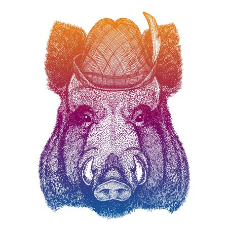 Vector aper, boar, hog, wild boar. Bavarian traditional hat. Tirol austrian hat. Beer Oktoberfest character portrait.