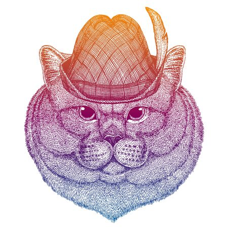Vector cat. Bavarian traditional hat. Tirol austrian hat. Beer Oktoberfest character portrait.