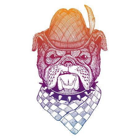 Vector dog, bulldog. Bavarian traditional hat. Tirol austrian hat. Beer Oktoberfest character portrait.
