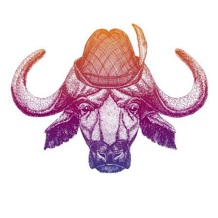 Vector Buffalo, bull, ox. Bavarian traditional hat. Tirol austrian hat. Beer Oktoberfest character portrait. Иллюстрация