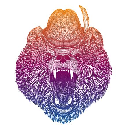 Vector bear. Bavarian traditional hat. Tirol austrian hat. Beer Oktoberfest character portrait.