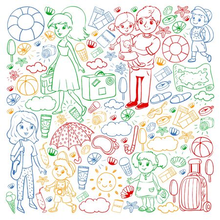 Vector pattern. Summer vacations. Little children. Happy family with kids. Travel and adventures. Beach, ocean, island, sun