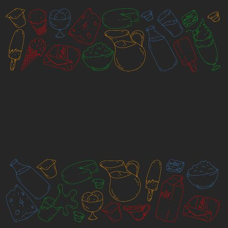 Vector pattern with icons of milk, butter,cottage cheese, sour cream, cheese, yogurt, ice cream, cream. Collection of dairy products. Illustration
