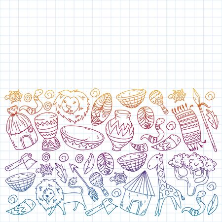 Vector african tribal pattern for banner and posters. Icons of animals and traditional elements for children fabric, clothes, textile. Travel and adventure Иллюстрация