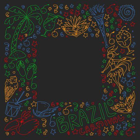 Brazilian vector pattern with palm, beach, sea carnival Illustration