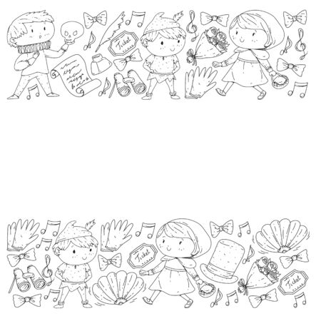Illustration of a Childrens Performing on Stage. Theatre with kids Illustration
