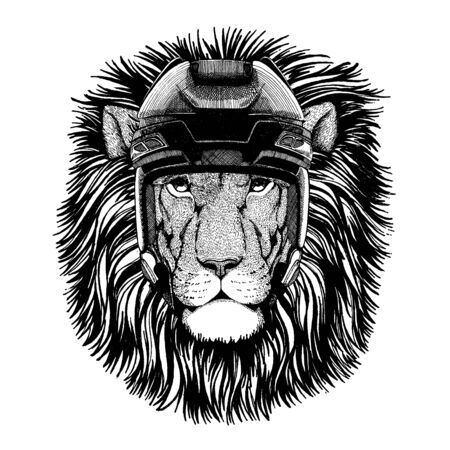 Lion, animal wearing hockey helmet. Hand drawn image of lion for tattoo, t-shirt, emblem, badge, logo, patch. 向量圖像