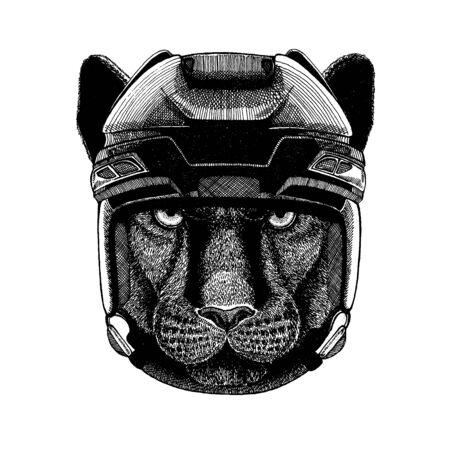 Panther, puma, cougar, wild cat, animal wearing hockey helmet. Hand drawn image of lion for tattoo, t-shirt, emblem, badge, logo, patch. Illustration