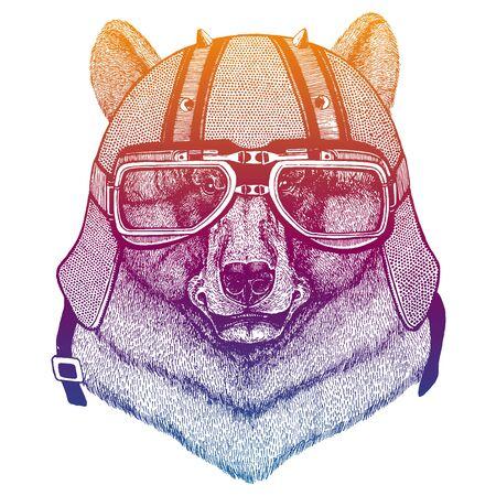 Bear wearing motorcycle helmet. Speed and road. Vintage style vector illustration. Face of dangerous wild animal. Portrait head of biker. Illustration