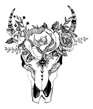 Bohemio, ilustración vectorial boho. Símbolo gitano étnico salvaje y libre.