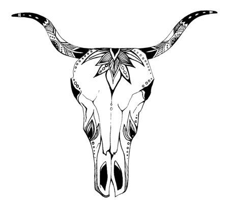 Vache, buffle, crâne de taureau dans un style tribal avec des fleurs. Bohème, illustration vectorielle boho. Symbole ethnique gitan sauvage et libre. Vecteurs
