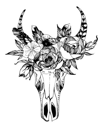Cow, buffalo, bull skull in tribal style with flowers. Bohemian, boho vector illustration. Wild and free ethnic gypsy symbol.