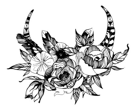 Bohemian style flowers. Roses and peony for wedding invitation design. Vector illustration with boho deer horns.