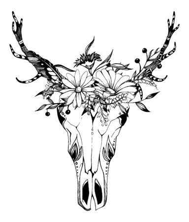 Mucca, bufalo, teschio di toro in stile tribale con fiori. Boho, illustrazione vettoriale boho. Simbolo zingaro etnico selvaggio e libero.