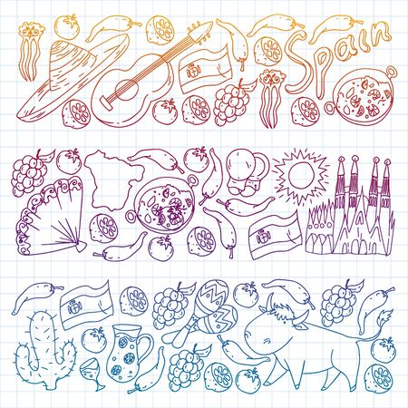 Spain vector pattern. Spanish traditional symbols and objects. Stock Illustratie