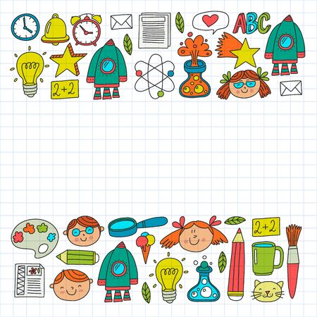 Vector pattern with back to school icons for posters, banners, covers. Kids, children education. Illustration